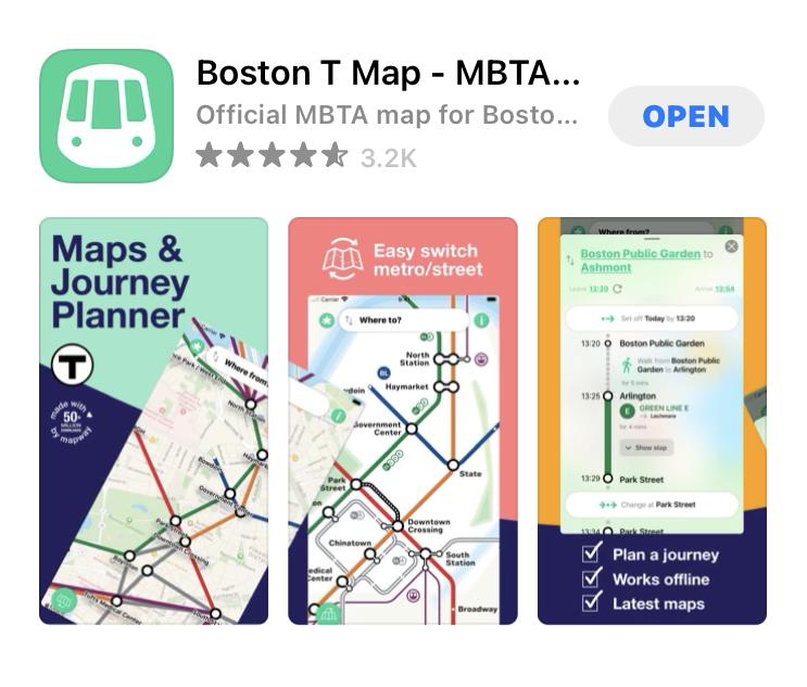 ボストンの地下鉄アプリ