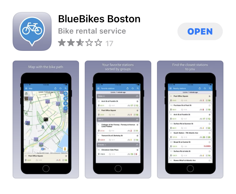 Blue Bikeのアプリ