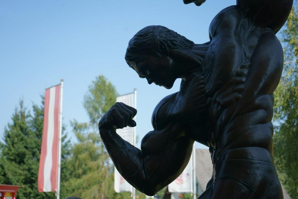 シュワちゃんの実家の前にある銅像