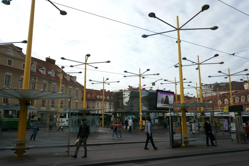 街の交通の中心ヤコミニプラッツ