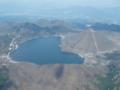 榛名湖はハート型。手前は自分のグライダーの影。右は榛名富士。
