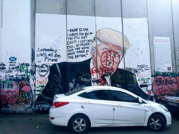 分離壁アート(トランプ大統領)