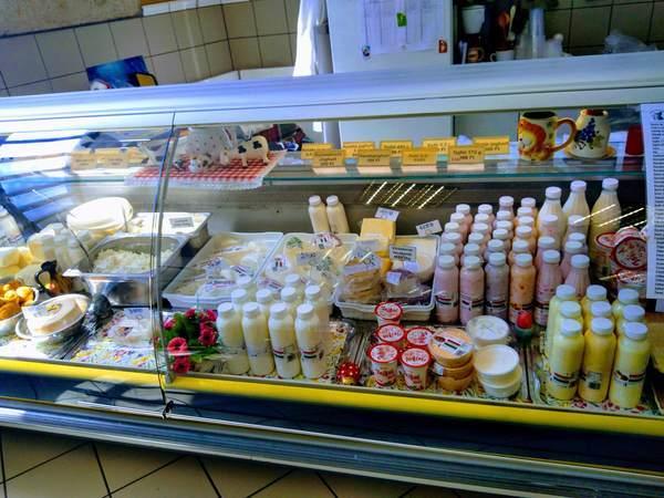 ブダペスト中央市場の乳製品