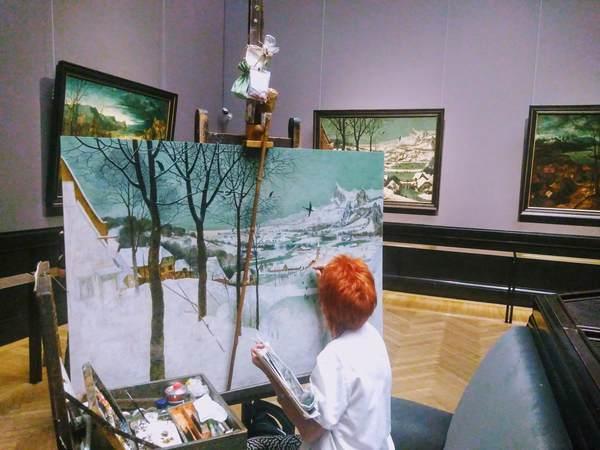 ブリューゲル「雪中の狩人」を模写