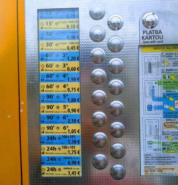 スロバキアのバス発券機(拡大)