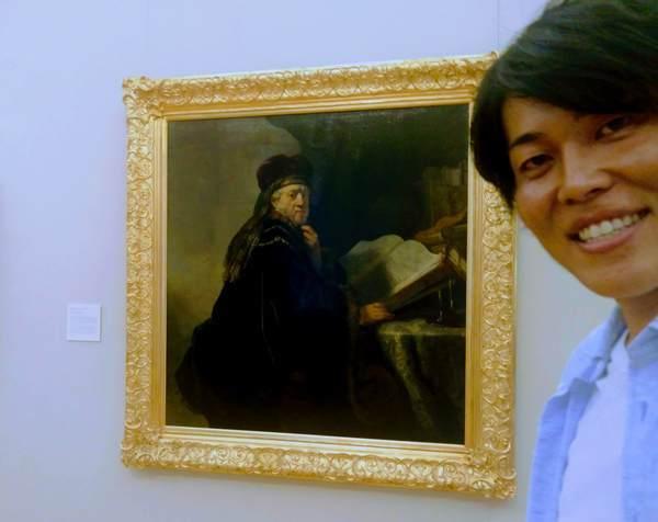 レンブラントの絵画と記念撮影