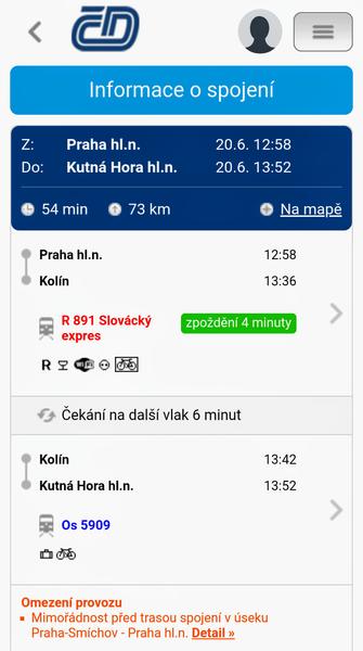 プラハ中央駅からクトナー・ホラまでの路線案内