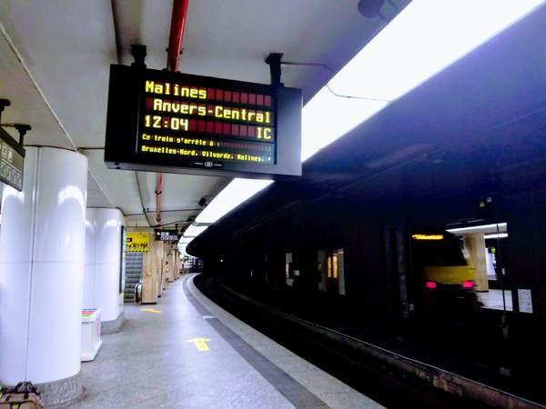 ブリュッセル中央駅のプラットホーム