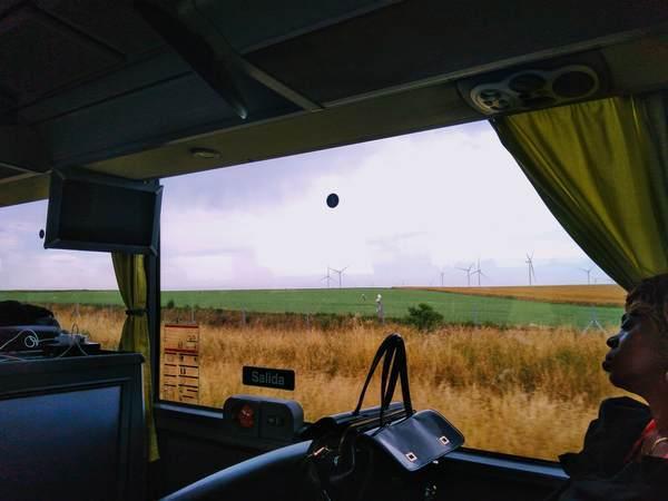 バスの車窓から見たフランスの草原