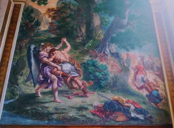 天使とヤコブが戦っている姿