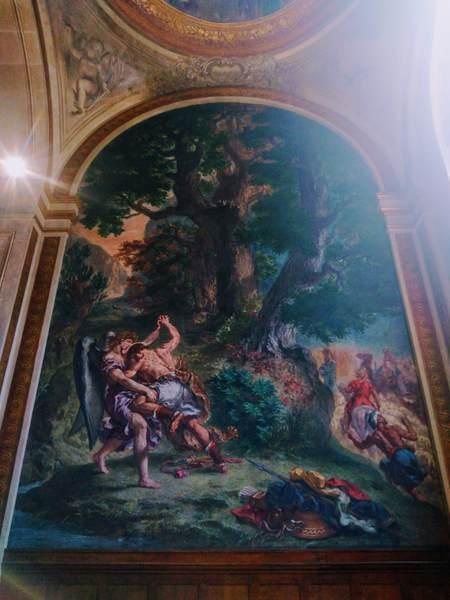ドラクロワのフレスコ画『天使とヤコブの闘い』