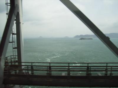 瀬戸大橋を走る列車からの眺め