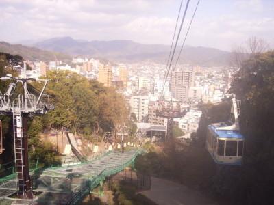 松山城のロープウェーからの眺め