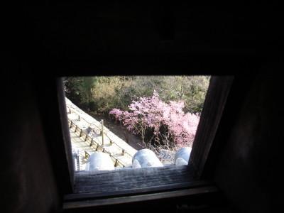 天守閣の攻撃用の穴から外を覗く@松山城