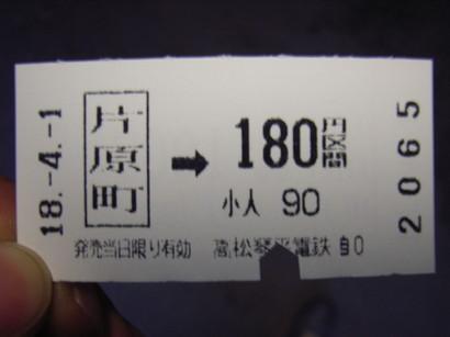 高松琴平電鉄の切符