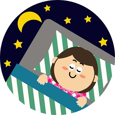 布団で眠る女性のイラスト