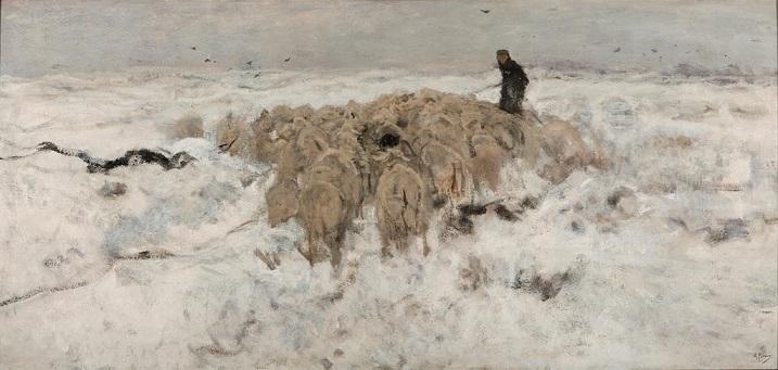 絵画・雪の中の羊飼いと羊の群れ・アントン・マウフェ