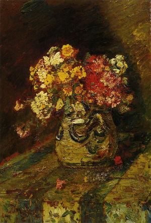 絵画・陶器壺の花・アドルフ・モンティセリ