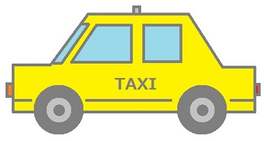 黄色いタクシーのイラスト