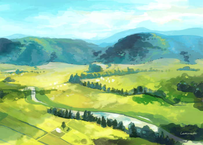 たまには風景なんかも描いたりします...。