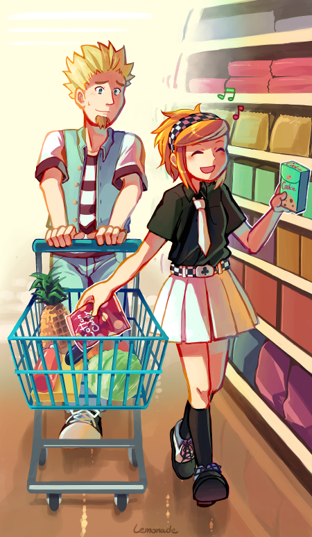 スーパーで買い物中。