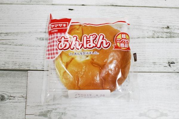 山崎製パンあんぱん(こしあん)開封前表