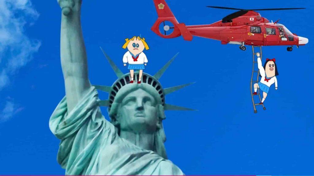 自由の女神とヘリコプターのドーファンⅡ
