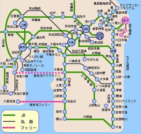 銚子電鉄の路線と関東の路線図