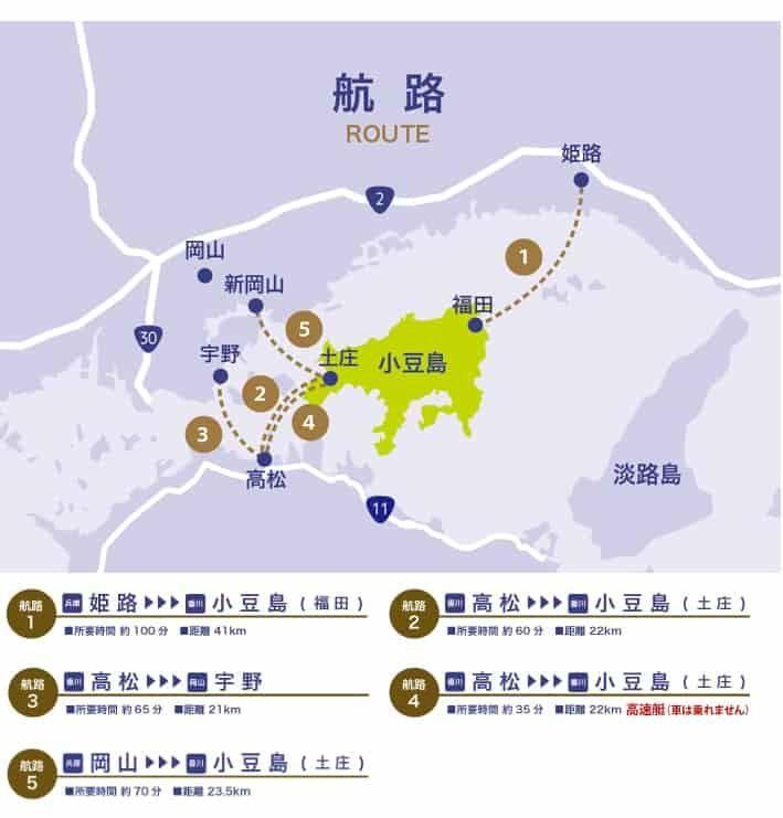 小豆島フェリーの航路図