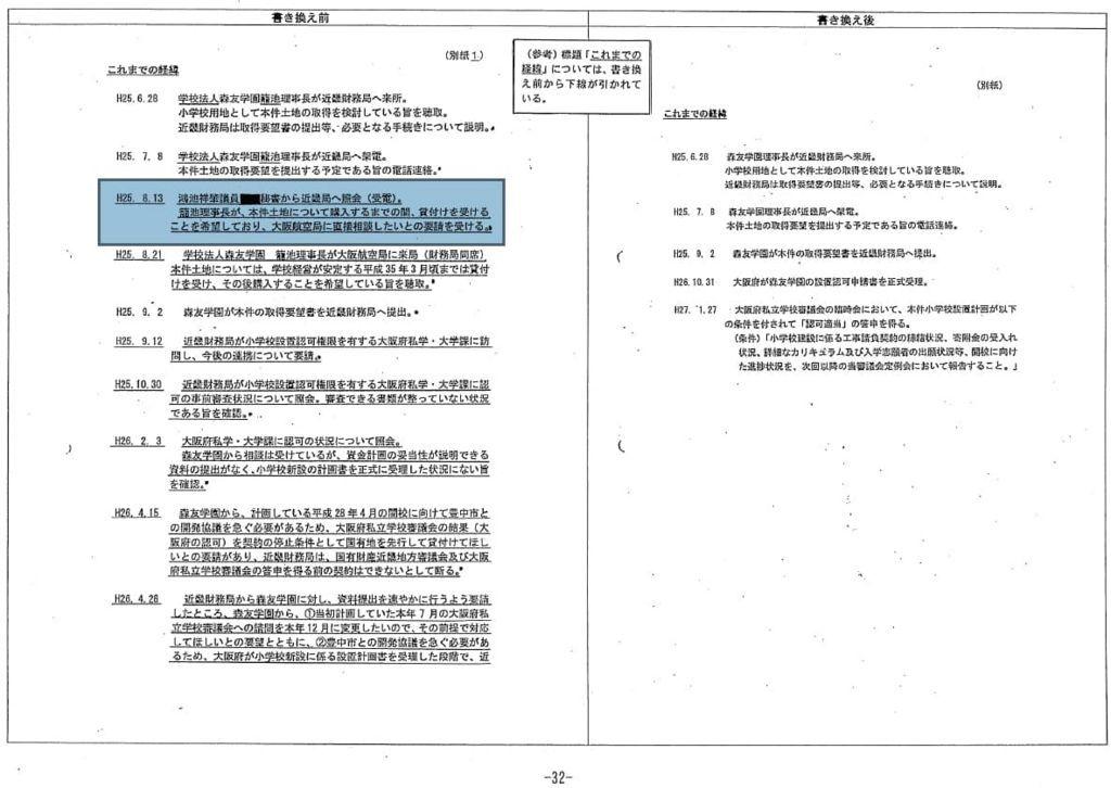 特例承認の決裁文書①鴻池議員への陳情