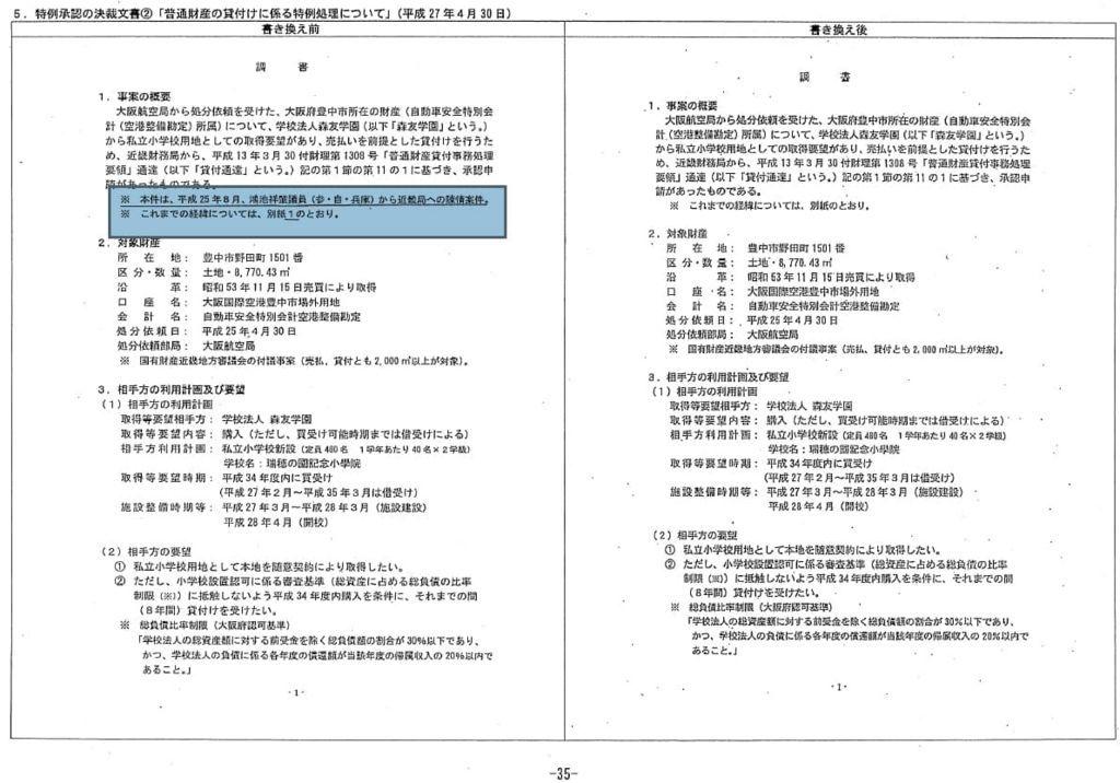 特例承認の決裁文書②鴻池議員