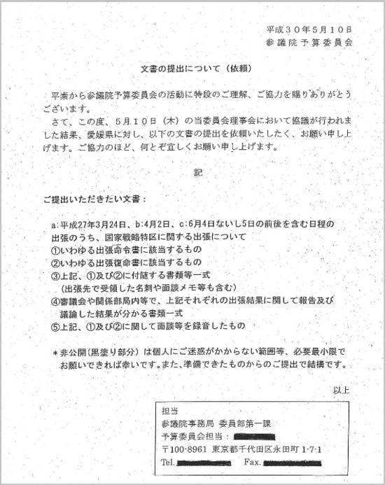 国政調査権ではなく任意での愛媛県に対する要求文書
