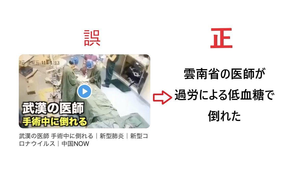 武漢の医者が手術中に倒れる:動画:新型肺炎コロナウィルス:デマ