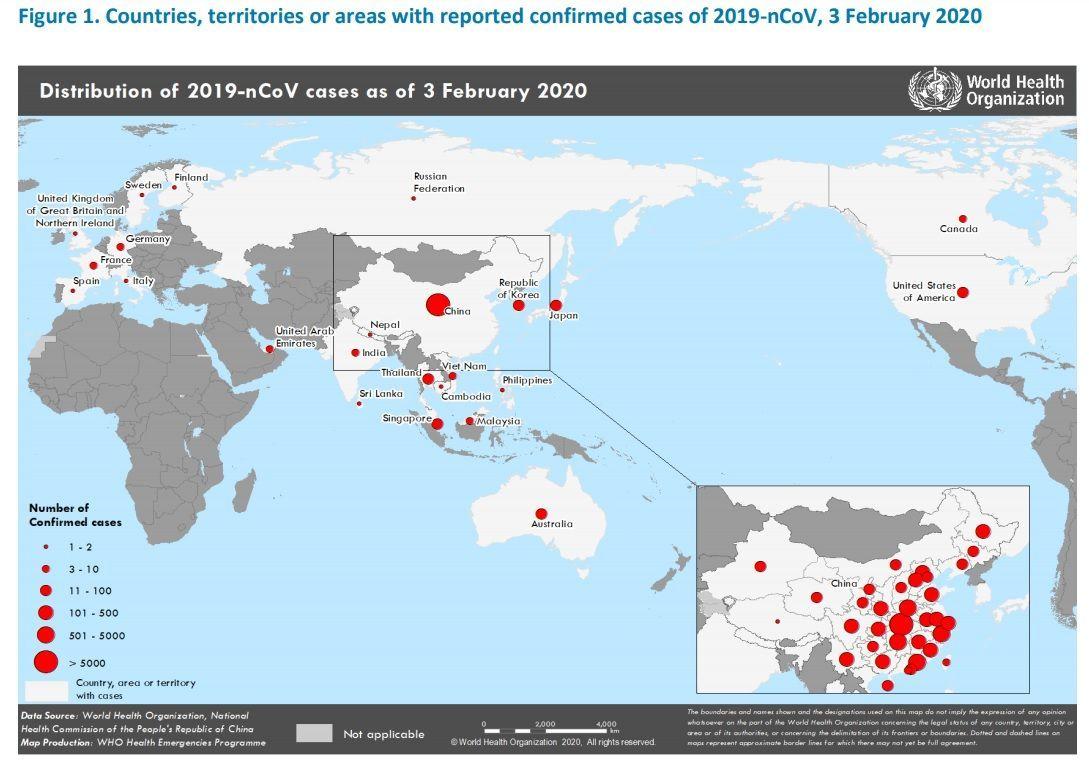 2020年2月3日時点での世界の新型コロナウイルス感染拡大図