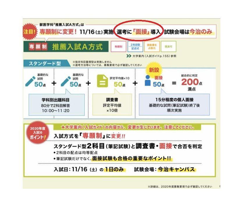 岡山理科大学獣医学部の入試方式