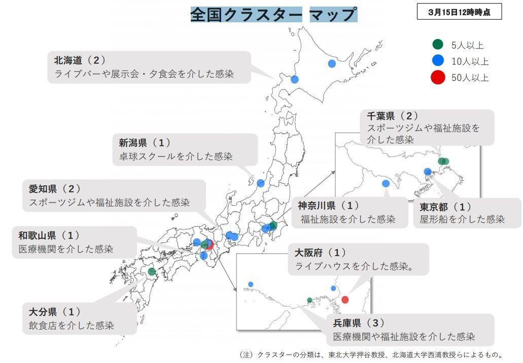 全国クラスターマップ:厚生労働省