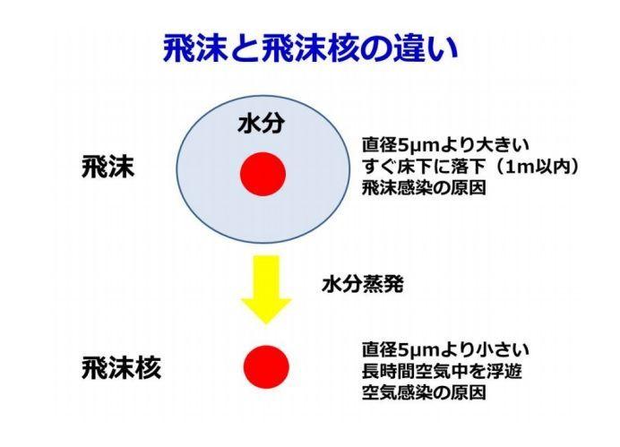 マイクロ飛沫と飛沫と飛沫核
