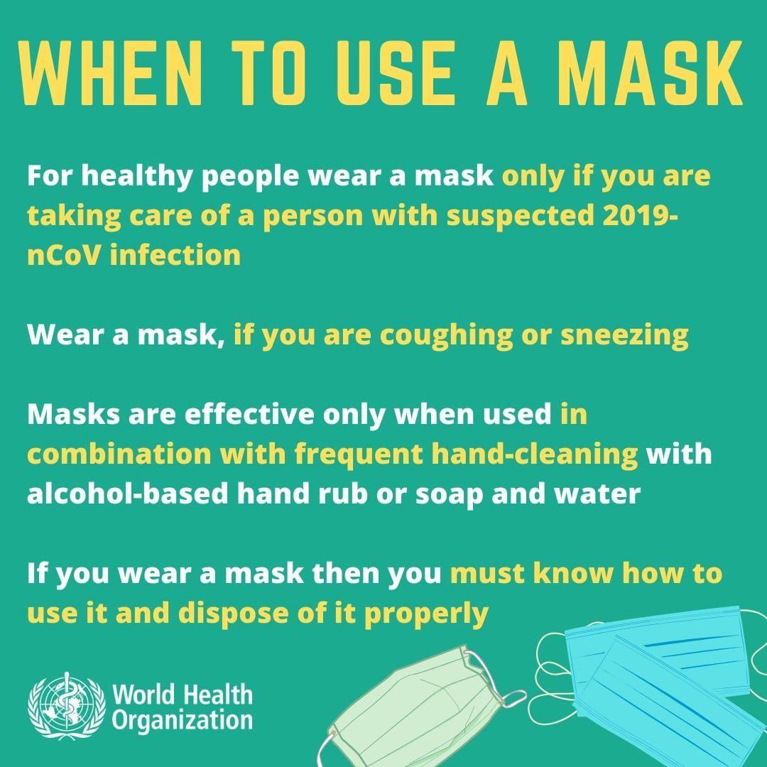 WHOがマスクを推奨する場合
