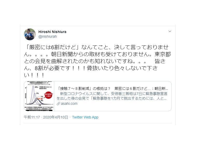 朝日新聞による西浦教授の6割デマ