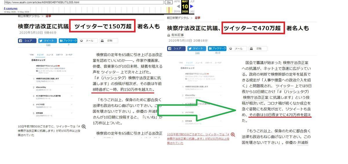 朝日新聞が「検察庁法改正に抗議します」ツイート数を更新して水増ししていた