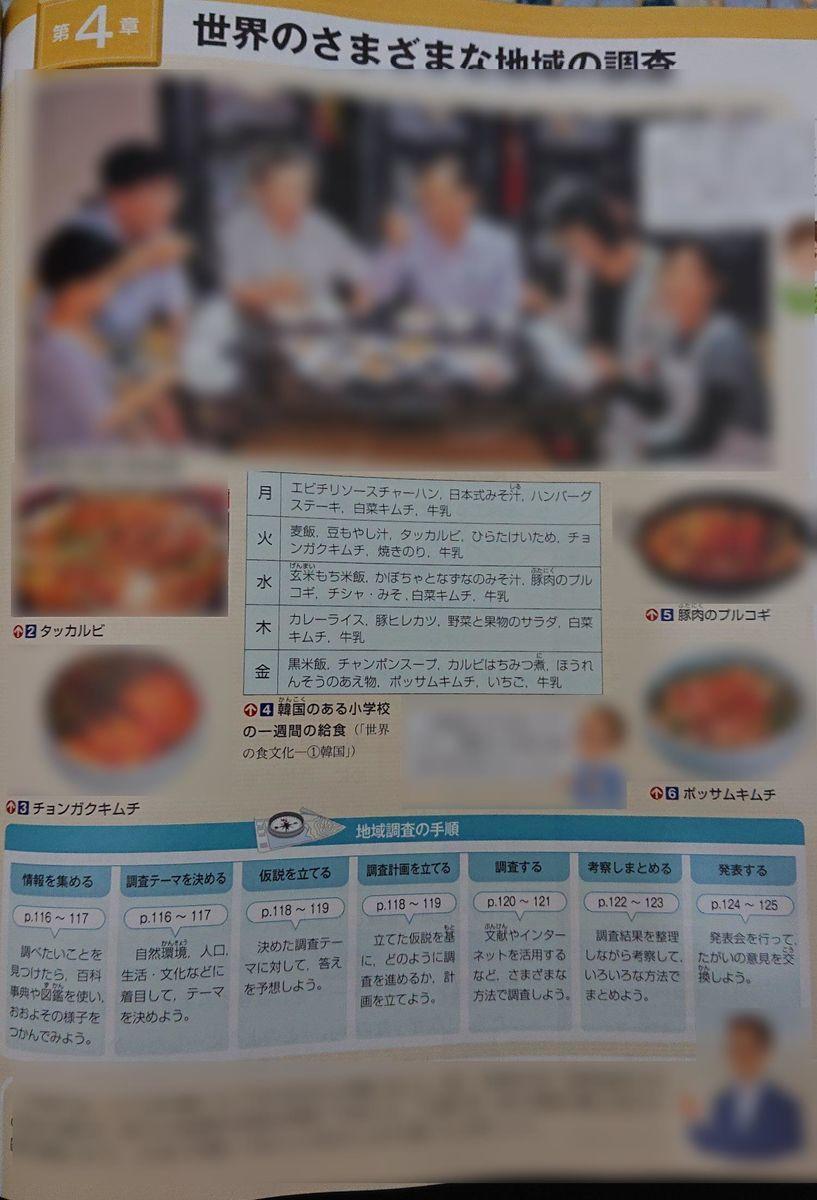 東京書籍の中学地理教科書で世界の文化の調査方法例として韓国文化が紹介