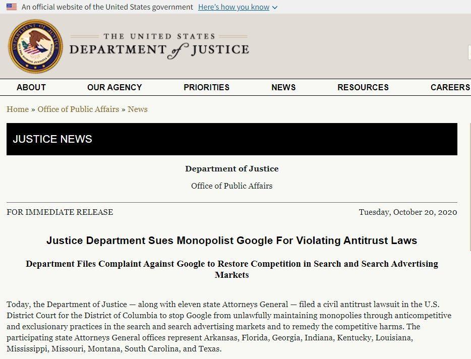 アメリカ司法省がGoogleを独占禁止法違反で提訴