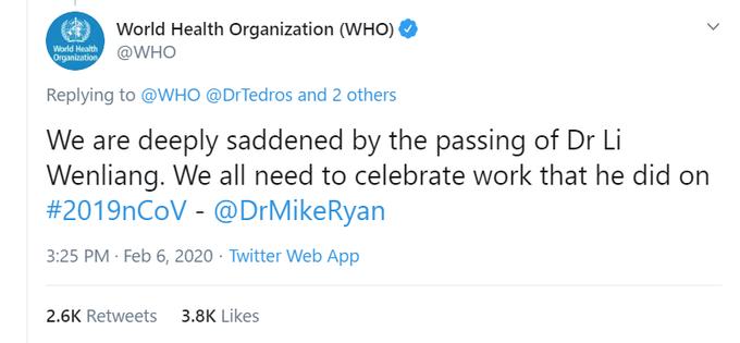WHO、李文亮医師の死を悼むツイートを削除