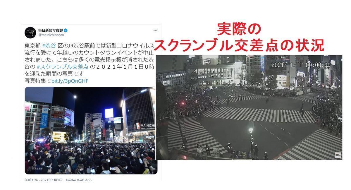 渋谷スクランブル交差点、2021年年越しの瞬間の混雑