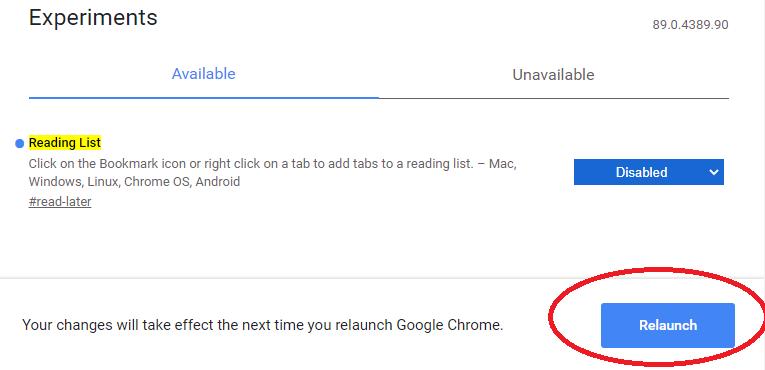 Chromeのリーディングリストを削除する方法