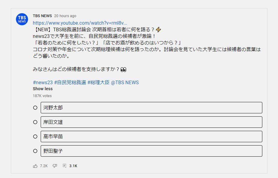 TBS総裁選アンケート高市早苗隠蔽疑惑