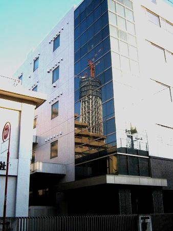 イチヂク製薬のビルにうつる東京スカイツリー