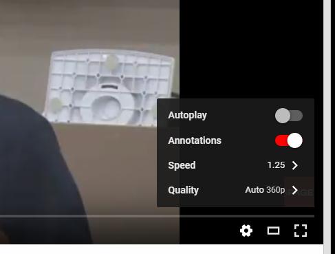 YouTube再生画面の設定メニュー