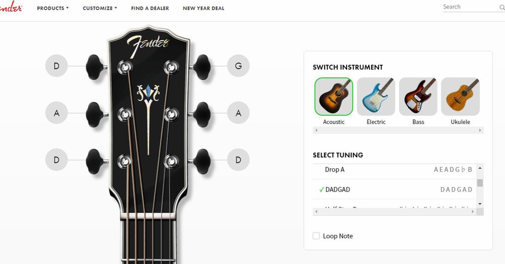 Fenderのチューナーページ