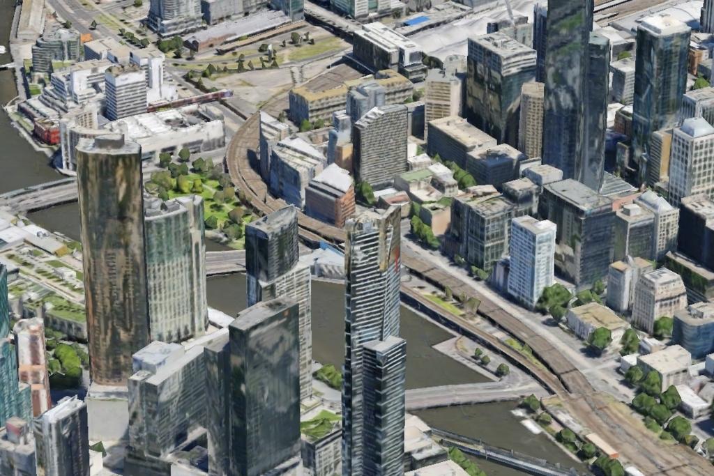 メルボルンのGoogle earthの3D表示